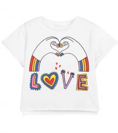 Stella McCartney Little Girls White Love T-Shirt