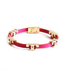 Tory Burch Fire Pink Serif Logo Bracelet