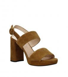 Brown Ankle Strap Suede Heels