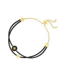 Tory Burch Black Enamel Logo-Slider Bracelet