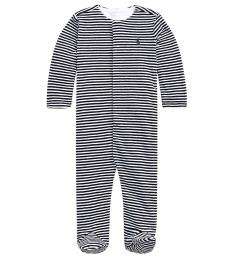 Baby Boys French Navy Multi Striped Velour Coverall