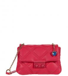 Betsey Johnson Red Ellie Quilted Mini Shoulder Bag