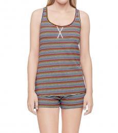 Calvin Klein Prism Stripe Black/blue Bay Racerback Tank Shorts Pajama Set
