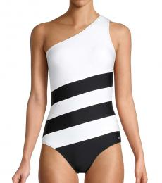 DKNY Black Colorblocked One-Shoulder One-Piece Swimsuit