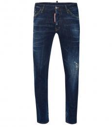 Dsquared2 Dark Blue Logo Slim Fit Jeans