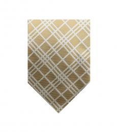 Burberry Gold Timeless Plaid Print Silk Tie