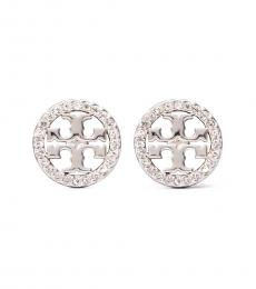 Tory Burch Silver Miller Pave Stud Earrings