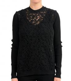 Versus Versace Black Lace Crewneck Sweater