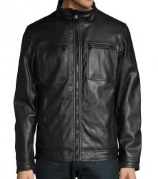 Calvin Klein Black Faux Leather Biker Jacket
