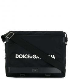 Black Buckle Large Messenger Bag