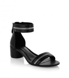 Black Ortenne Zipper Leather Heels