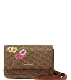 Karl Lagerfeld Brown Floral Amelie Embroidered Small Crossbody