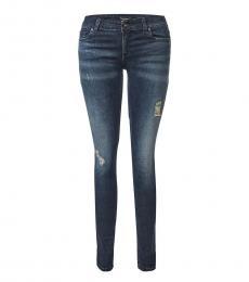 Blue Mid Rise Logo Jeans