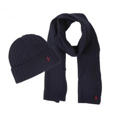 Navy Ribbed Hat & Scarf Set