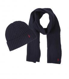 Ralph Lauren Navy Ribbed Hat & Scarf Set