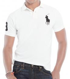 Ralph Lauren Cream Brown Custom Fit Big Pony Polo