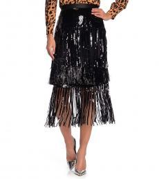 Black Sequin and Fringe Skirt