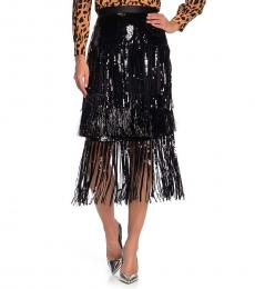 Diane Von Furstenberg Black Sequin and Fringe Skirt