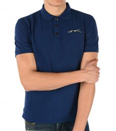 Just Cavalli Blue Ghepard Embroidered Polo