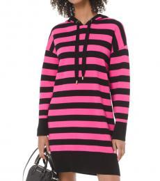 Pink Striped Hoodie Dress