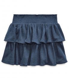 Ralph Lauren Girls Blue Heather Ruffled Atlantic Terry Skirt