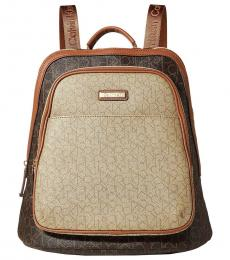 Brown Khaki Monogram Large Backpack