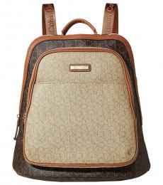 Calvin Klein Brown Khaki Monogram Large Backpack