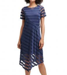 DKNY Dark Blue Striped Asymmetrical Dress