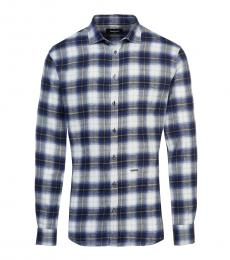 Dark Blue Check Logo Patch Shirt