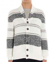 White Inlay Buttoned Cardigan