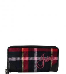 Juicy Couture Black Plaid Tartan Zip Around Wallet