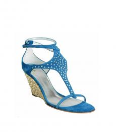 Giuseppe Zanotti Blue Beaded Ankle Strap Wedges