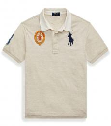 Ralph Lauren Boys New Sand Heather Mesh Rugby Polo