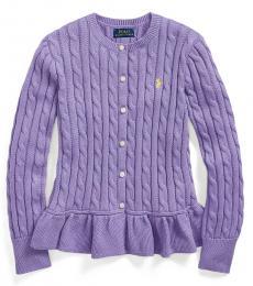 Ralph Lauren Girls Hampton Purple Cable Peplum Cardigan