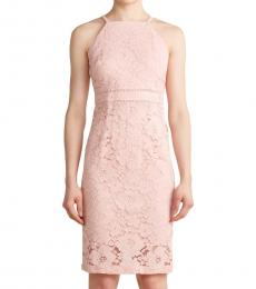 Vince Camuto Light Pink Halter Floral Lace Bodycon Dress