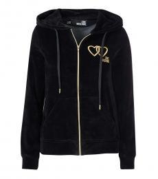 Black Hooded Embroided Logo Jacket