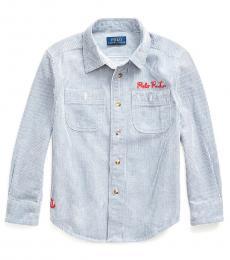 Ralph Lauren Little Boys Railroad Stripe Nautical Striped Twill Shirt
