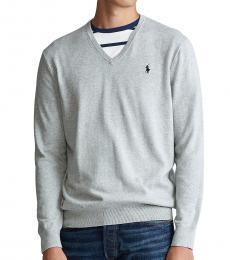 Ralph Lauren Light Grey Cotton V-Neck Sweater