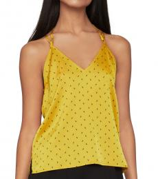 BCBGMaxazria Yellow Tie-Back Satin Top