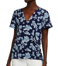 Michael Kors Blue Pattern Floral Print Wrap Top