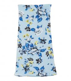 Sky Blue Willa Floral Print Pencil Skirt