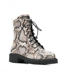Giuseppe Zanotti Snake Print Combat Ankle Boots