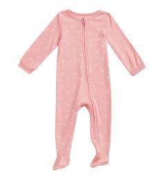 Calvin Klein Baby Girls Pink Logo Print Footie