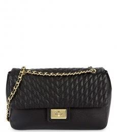 Black Quilted Large Shoulder Bag