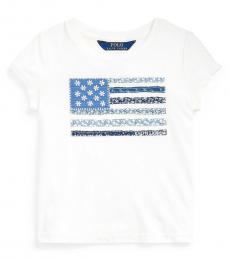 Ralph Lauren Little Girls White Floral Flag T-Shirt