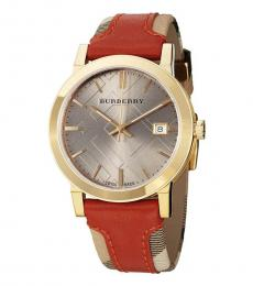 Burberry Brown-Gold Haymarket City Watch