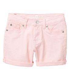 Girls Flamingo Roll Cuff Stretch Shorts