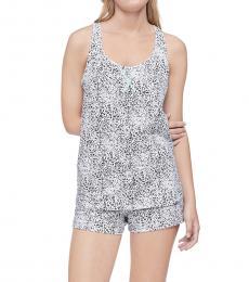 Calvin Klein Diagonal Signature Logo Blue Bay Racerback Tank Shorts Pajama Set