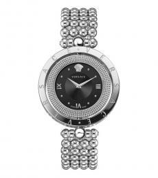 Versace Silver Black Dial Logo Watch