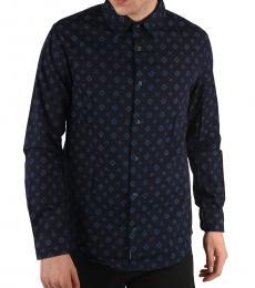 Armani Jeans Navy Blue Denim Argyle-Print Shirt